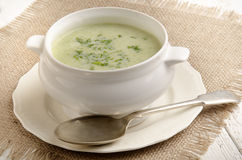 Broccoli cream soup with parsley Royalty Free Stock Photo