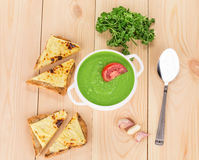 Broccoli cream soup Royalty Free Stock Images
