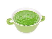 Broccoli cream soup on white. Royalty Free Stock Image
