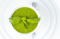 Broccoli cream soup on white background Stock Photography