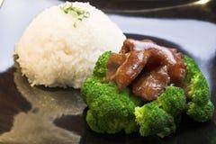 Broccoli de boeuf avec du riz Photographie stock libre de droits