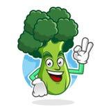 Broccoli deliziosi mascotte, carattere dei broccoli, fumetto dei broccoli Fotografia Stock Libera da Diritti