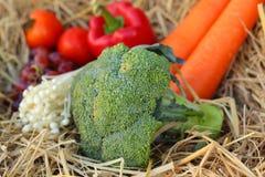 Broccoli ed uva degli ortaggi freschi su paglia Immagini Stock