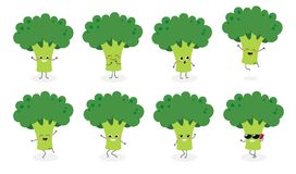 Broccoli emoticon N2 stock illustratie
