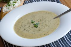 Broccoli et potage de stilton image stock