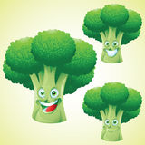 Broccoli face expression cartoon character set Royalty Free Stock Photography