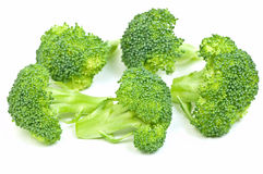 Broccoli florets 2. Fresh, green healthy broccoli florets isolated on white background in horizontal format Stock Images