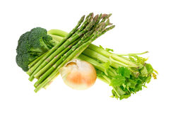 Broccoli Florets Asparagus Onion Celery Side Royalty Free Stock Images