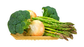 Broccoli Florets Onions Asparagus In Basket Side Stock Photography