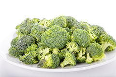 Broccoli Florets on a White Plate Royalty Free Stock Image
