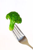Broccoli on a fork Stock Photos