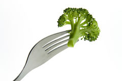 Broccoli on a fork Royalty Free Stock Photography