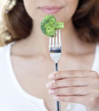 Broccoli on Fork Royalty Free Stock Image