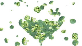 Broccoli forming a Heart stock footage