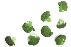 Broccoli freschi isolati sullo spazio bianco della copia del backgroundwith per il vostro testo Vista superiore Modello piano di  Fotografia Stock