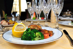 Broccoli with fry meat a Royalty Free Stock Image