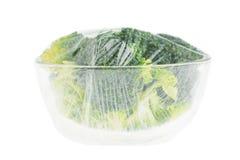 Broccoli. In a glass bowl Stock Photos