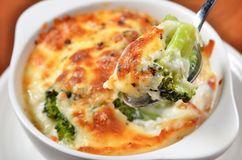Broccoli Gratin. With melted cheese royalty free stock image