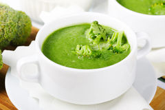 Broccoli green fresh soup Stock Photos