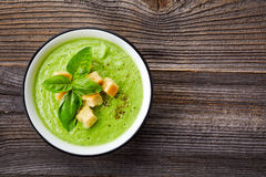 Broccoli and green peas soup Royalty Free Stock Image