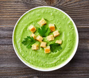 Broccoli and green peas soup Royalty Free Stock Images