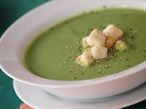 Broccoli green soup Stock Photos