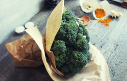 Broccoli on the grey wooden table Stock Photography