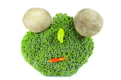 Broccoli and guinea-pepper face. Face made from broccoli and guinea-pepper Royalty Free Stock Photography