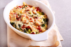 Broccoli and ham bake. In a tin Stock Image