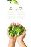 Broccoli on the hand and on white isolate background (clipping p. Broccoli on the hand and white isolate background (clipping path Stock Images