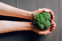 Broccoli in hands. Royalty Free Stock Photography