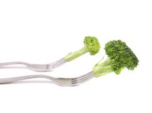 Broccoli impaled on a fork. Stock Images