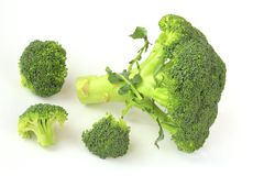 Broccoli. Isolated against white background (Brassica oleracea var italica Royalty Free Stock Image