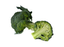 Broccoli with leaf on white Royalty Free Stock Image