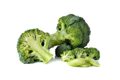 Broccoli with leaf on white Stock Image