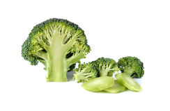 Broccoli with leaf on white Stock Images