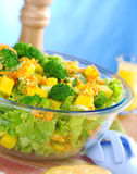 Broccoli-Mango-Carrot-Lettuce Salad Stock Images