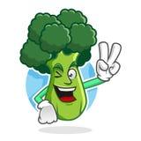 Broccoli mascotte, carattere dei broccoli, fumetto di pace dei broccoli Immagini Stock