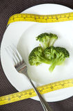 Broccoli with measure tape on dish Royalty Free Stock Photography