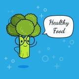 Broccoli med anförandebubblan Ballongklistermärke Kall grönsak också vektor för coreldrawillustration Klyftigt nerdtecken för bro royaltyfri illustrationer