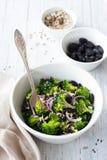 Broccoli met rozijnen, rode uien en zaden royalty-vrije stock foto's