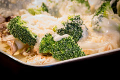 Broccoli, mushroom and cheese dish Stock Images
