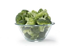 Broccoli nella ciottola di vetro Royalty Free Stock Photography