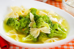 Broccoli and noodle soup Royalty Free Stock Image