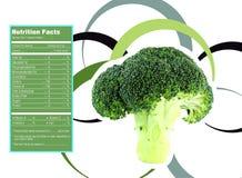 Broccoli nutrition facts. Creative Design for Broccoli with Nutrition facts label Royalty Free Stock Photo