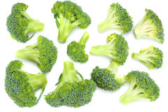 Broccoli on old wooden background. top view.  Royalty Free Stock Image