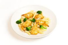 Broccoli Shrimp Pasta Royalty Free Stock Photo