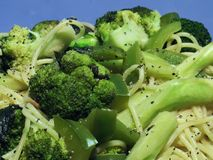 Broccoli and Pasta. A closeup of broccoli, green peppers, and pasta Stock Images