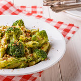 Broccoli pasta with sauce of green peas. Royalty Free Stock Photography