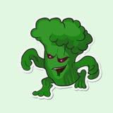 Broccoli pericolosi della verdura del mostro Verdura pericolosa del mostro - broccoli con l'occhi rossi Fotografia Stock